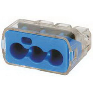 Ideal 30-1039 In-Sure™ Push-In Wire Connector; 14-10 AWG, 3 Conductors, 600 Volt, 3 Port, Nylon, Blue