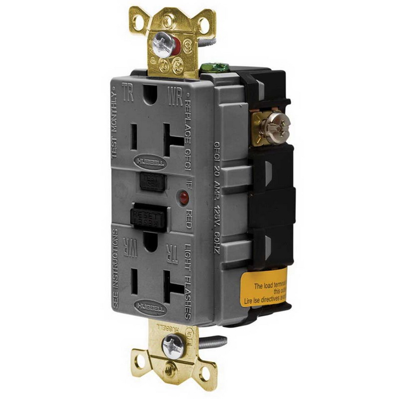 Hubbell Wiring GFR5362GYTR Grounding Industrial Tamper-Resistant Standard Size GFCI Receptacle; Screw Mount, 125 Volt AC, 20 Amp, 2-Pole, 3-Wire, NEMA 5-20R, Gray