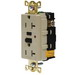 Hubbell Wiring GFR5362ITR Grounding Industrial Tamper-Resistant Standard Size GFCI Receptacle; Screw Mount, 125 Volt AC, 20 Amp, 2-Pole, 3-Wire, NEMA 5-20R, Ivory