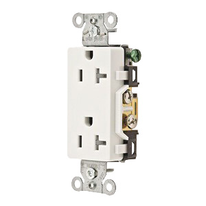 Hubbell Wiring DR20WHITR Tamper-Resistant Specification Grade Decorator Standard Size Straight Blade Duplex Receptacle Face; Screw Mount, 125 Volt AC, 20 Amp, 2-Pole, 3-Wire, NEMA 5-20R, White