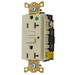 Hubbell Wiring GFR8300HILA Circuit Guard® Grounding Hospital Grade Standard Size Duplex GFCI Receptacle with LED; Screw Mount, 120 Volt AC, 20 Amp, 2-Pole, 3-Wire, NEMA 5-20R, Ivory