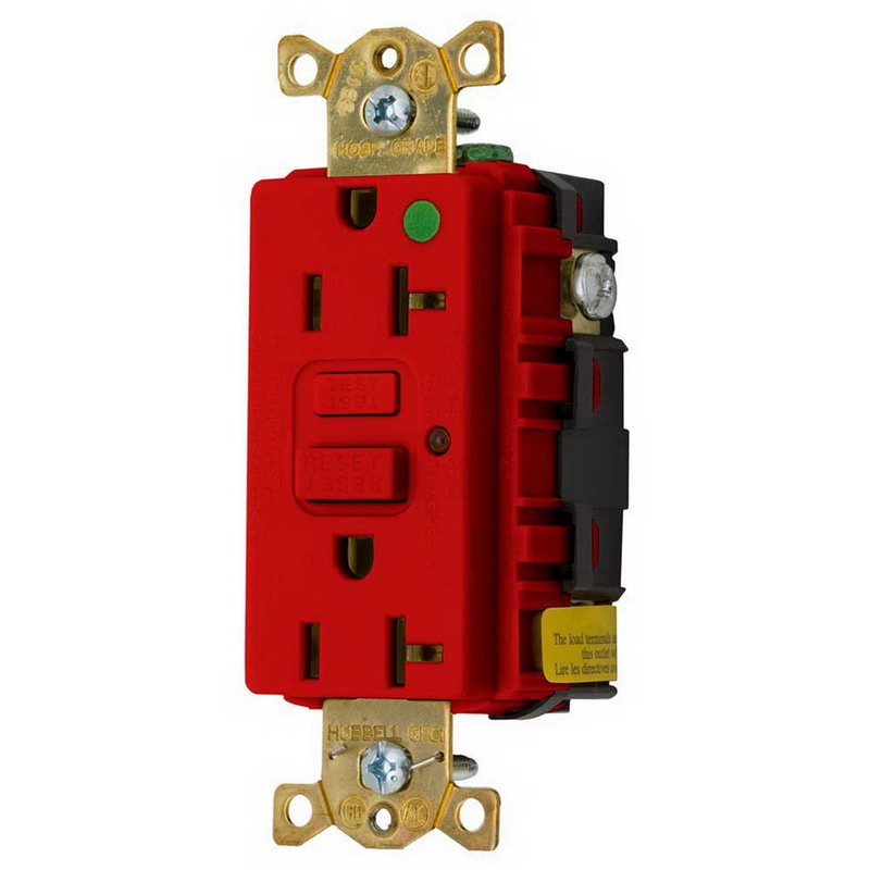 Hubbell Wiring GFR8300HRLA Circuit Guard® Grounding Hospital Grade Standard Size Duplex GFCI Receptacle with LED; Screw Mount, 125 Volt AC, 20 Amp, 2-Pole, 3-Wire, NEMA 5-20R, Red