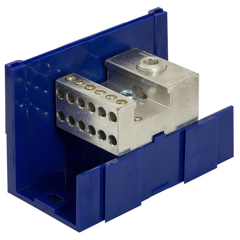 Ilsco LDA-26-350 MECH P 350-6 S Snapbloc® Multiple Conductor Power Distribution Block; 600 Volt AC, 620 Amp, Blue