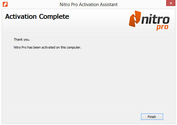 Nitro pro support nitro if activated properly you should receive a confirmation window indicating that nitro pro has been activated successfully ccuart