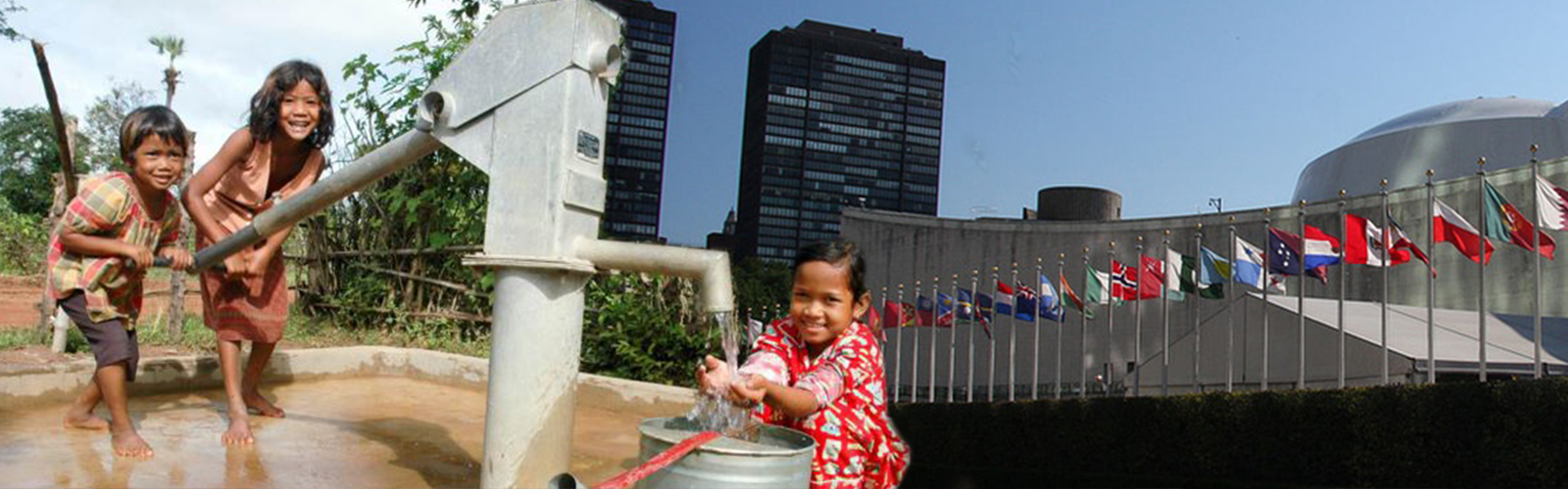 Cambodian children and UN building