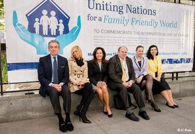 C-Fam Staff sitting outside the United Nations (from left: Austin Ruse, Marianna Orlandi, Lisa Correnti, Stefano Gennarini, Rebecca Oas, and Catherine Birri).