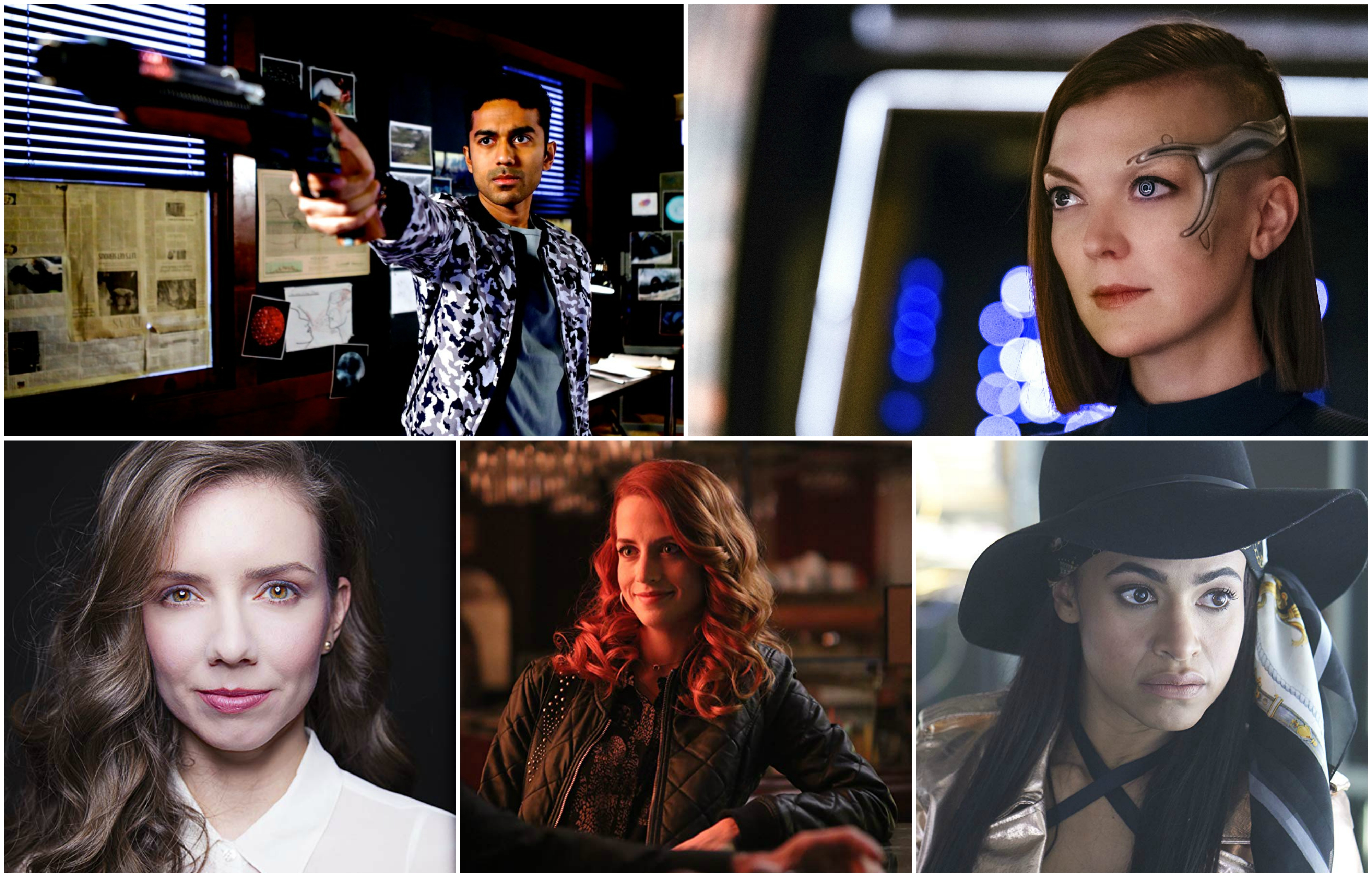 Five photos inset in a box, clockwise from top left: wide shot of man holding a futuristic gun, close-up of woman on spaceship, close-up of a woman wearing a black hat, wide shot of a woman at a bar, close-up of a woman looking into the camera