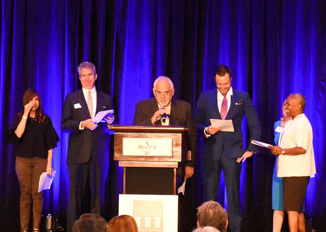 From left, Marcela Gomez, Ed Lanquist, Ramon Cisneros, Max Goldberg, Betty Price, Agenia Clark