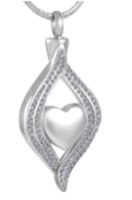 140: Silver Heart design with two Ribbons with Clear Stones