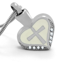 146: Silver heart with cross