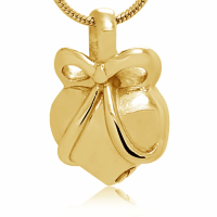 162: Gold tone heart/ribbon