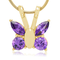 196: Gold tone and Purple Butterfly