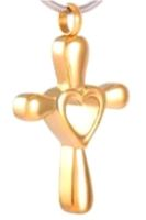 231: Gold cross with heart