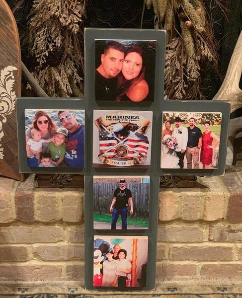 Custom Memorial Wooden Cross with 6 photo boards
