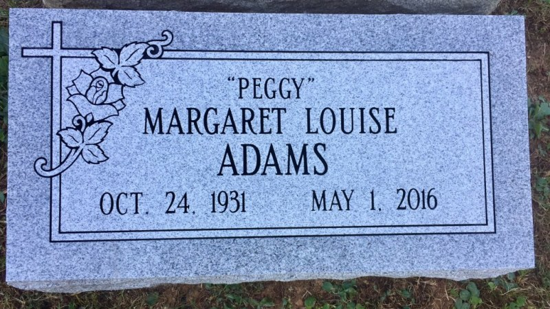 The Monument of Margaret Louise Peggy Adams