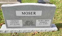 The Monument of Thomas Gentry & Alma Joan Kissick Moser