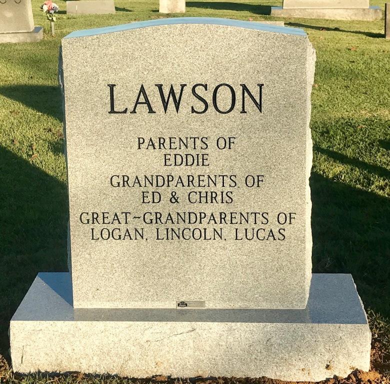 Monument of Lewis E. Pap-paw & Ethel M. Mam-maw Lawson
