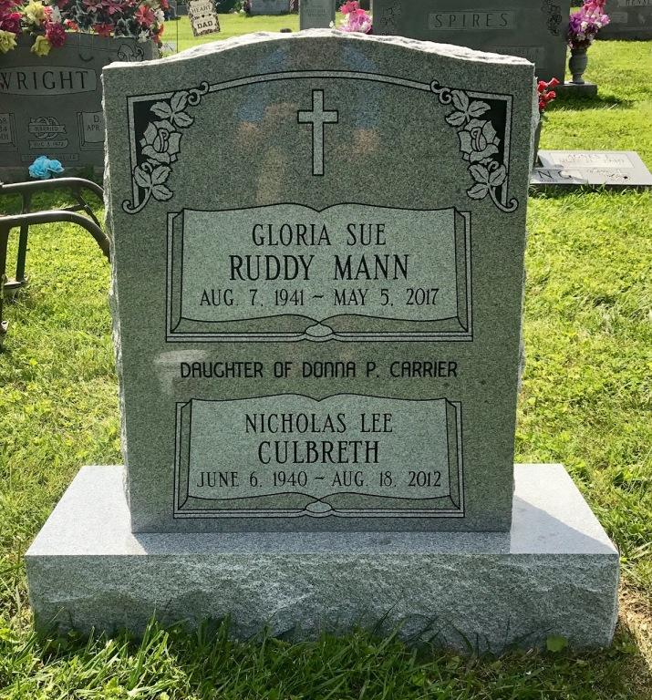 The Monument of Gloria Sue Ruddy Mann & Nicholas Lee Culbret