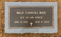 The VA Marker for Billy Carroll Rice