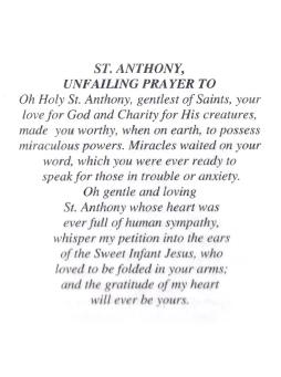 St. Anthony, Unfailing Prayer to