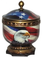 US Flag with Eagle Urn