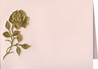 Gold Embossed Rose on Pink Acknowledgment Cards