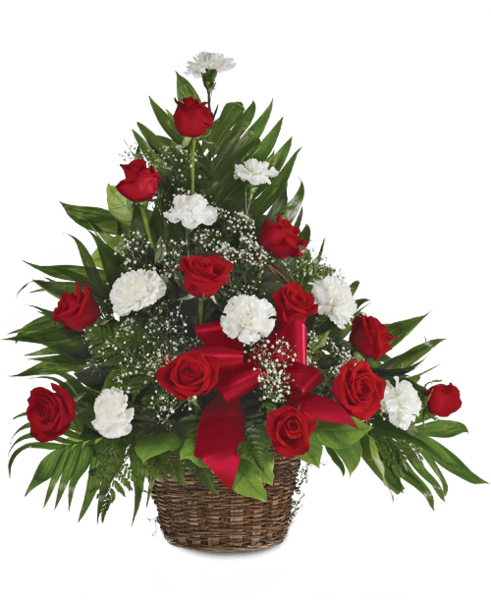 Memorial Table Basket with Roses