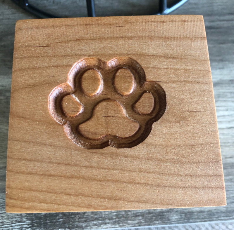 Square Wood Box Urn w/Paw Imprint