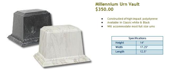 Millennium Urn Vault $350.00