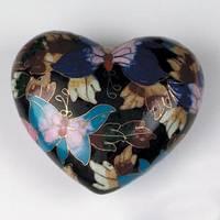 Butterfly Garden Cloisonné Heart