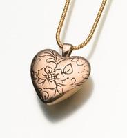 Bronze Floral Heart Pendant