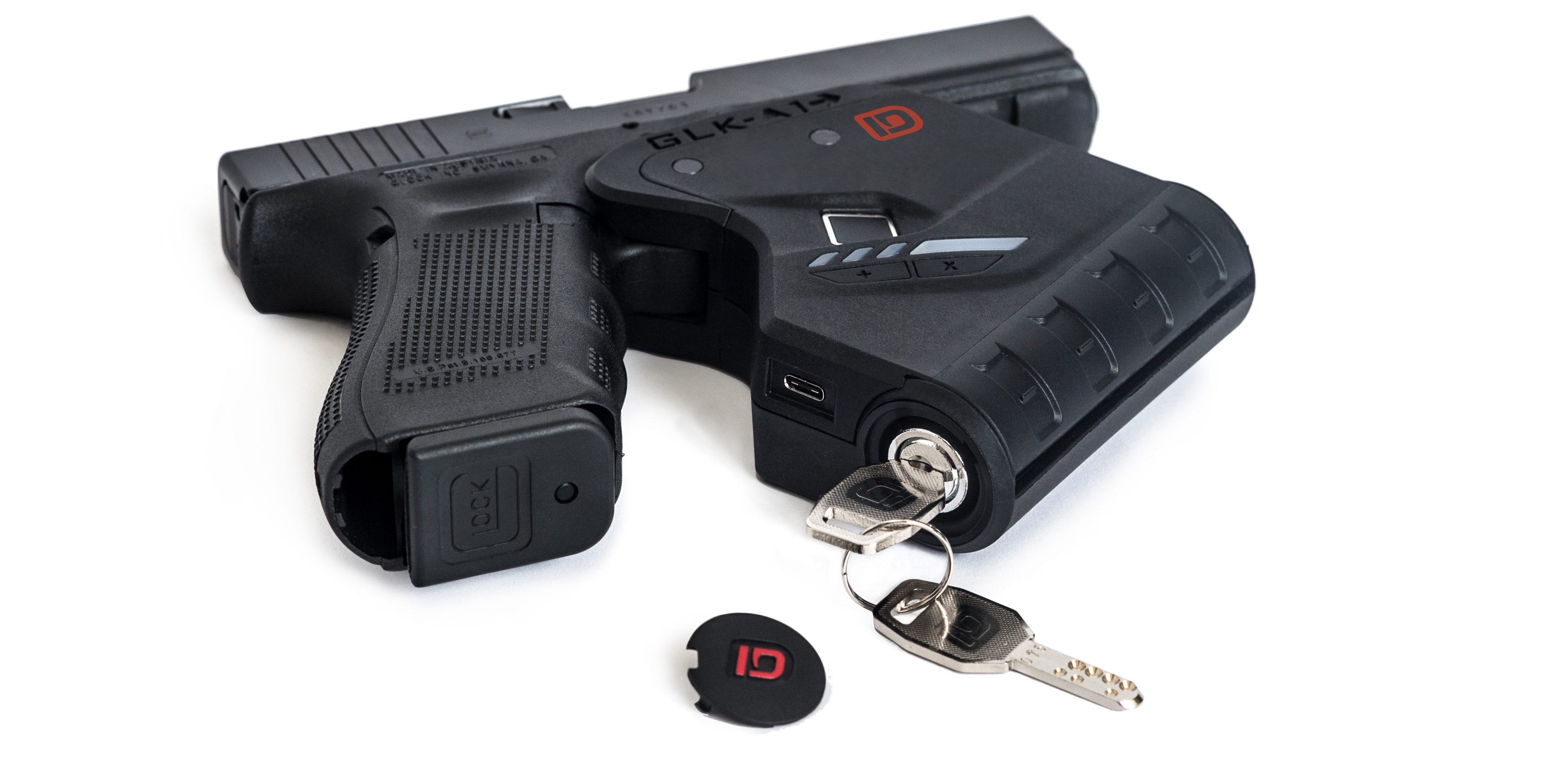 IDENTILOCK® comes with key-override as a backup to battery - gun lock