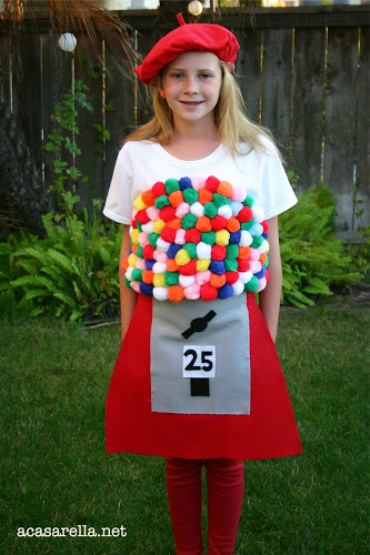 DIY Girls Gumball Machine Halloween Costumes