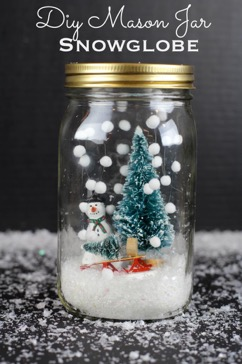 DIY Kids Craft Christmas Mason Jar SnowGlobe