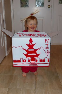 DIY Kids Chinese Take Out Box Halloween Costumes