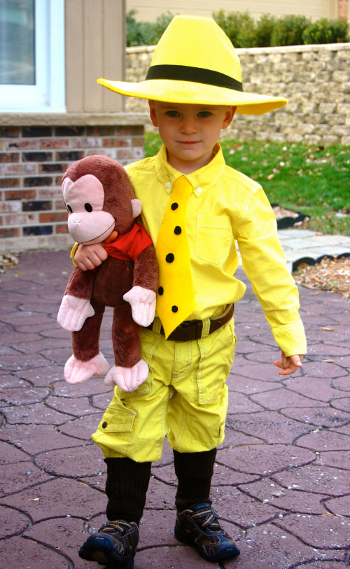 15 clever easy diy halloween costumes for kids the canadiannanny diy kids curious george man with the yellow costume solutioingenieria Image collections