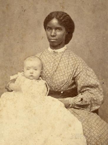white American baby girl with black slave nanny