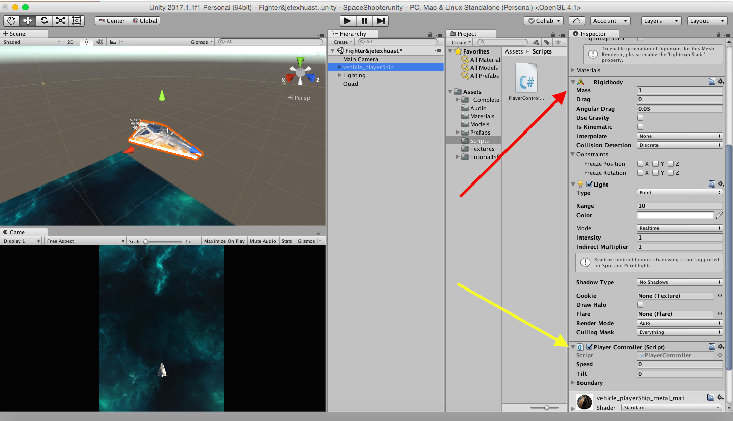 Unity Space Shooter Tutorial: How do I actually