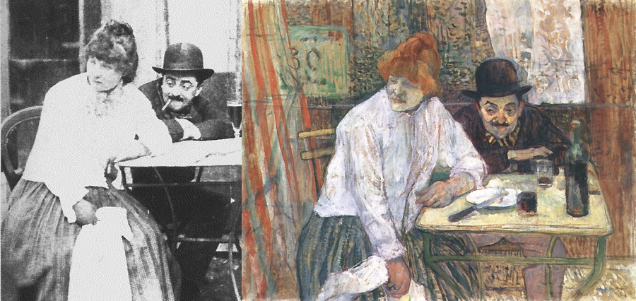 """At the Café La Mie"" by Henri de Toulouse-Lautrec The painting is based on a staged photographed, a practice that Lautrec commonly used."