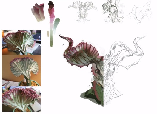 Reference doesn't always need to be an image. In his video on finding inspiration, Tim creates a fairytale creature based on the colors and shape of an interesting plant.