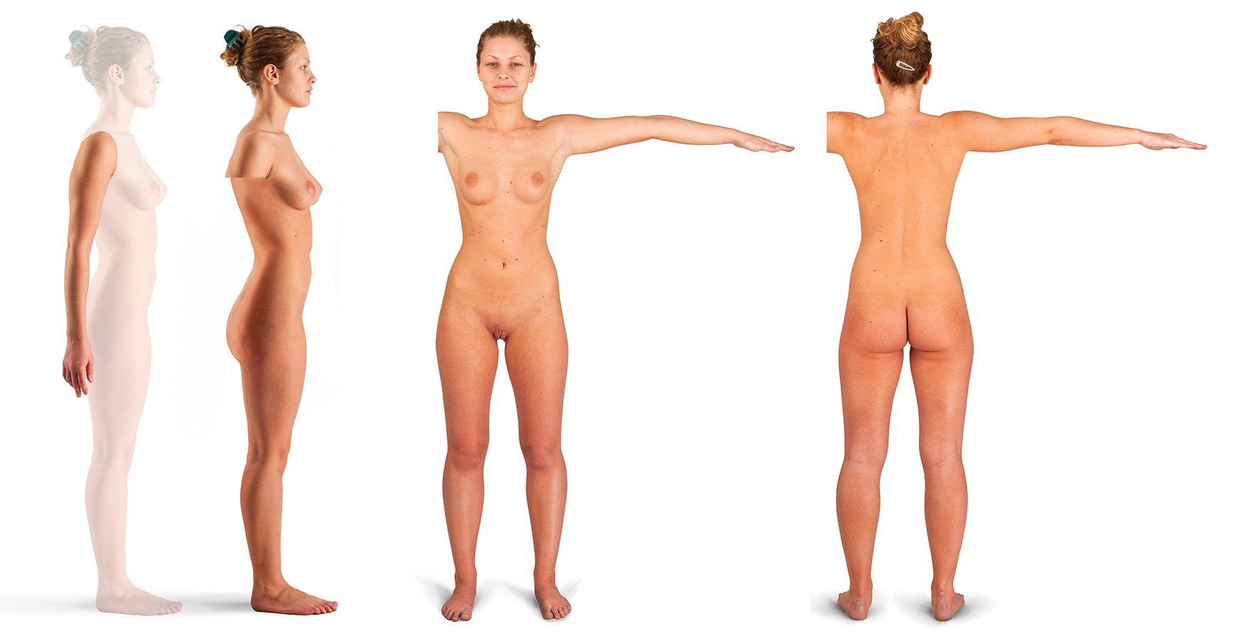 Side view nude woman covering her breast stock photo