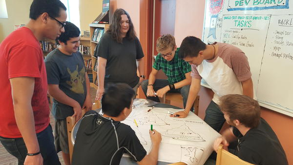 "The team planning a ""Floating Islands"" section of the game"