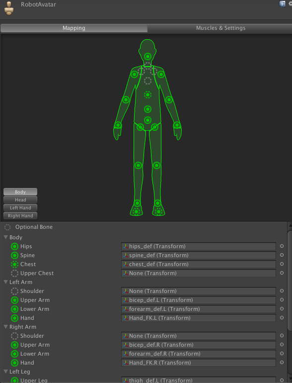 Mecanim Rig Settings