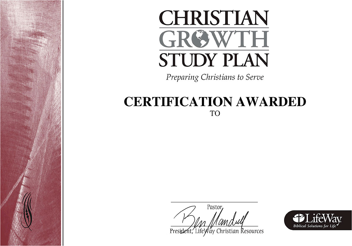 Christian Growth Study Plan Certificate Lifeway