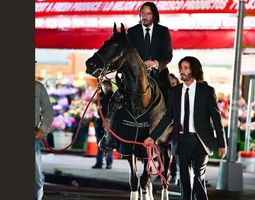 3D model Keanu Reeves and his double riding a horse
