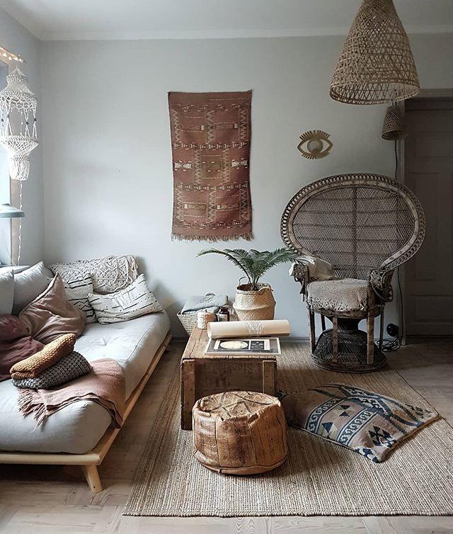 moroccanrug rearranging peacockchair livingroom home boholiving