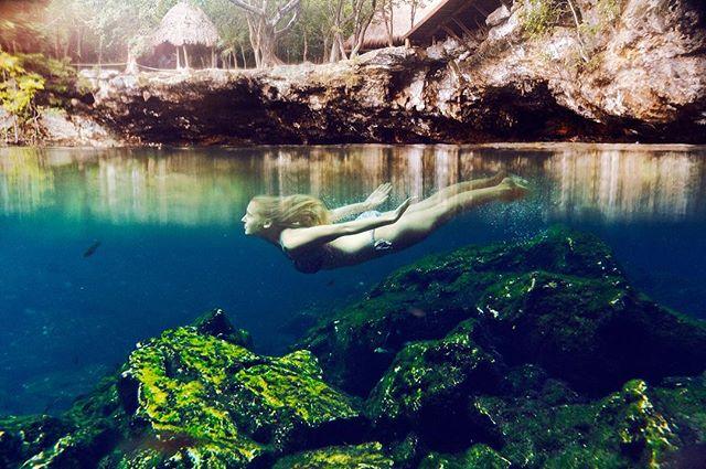 dive yucatan summer peaceful girl tulum cenoteazul photography cancun tui smooth bikini mexico mermaid bikinigirl cenote