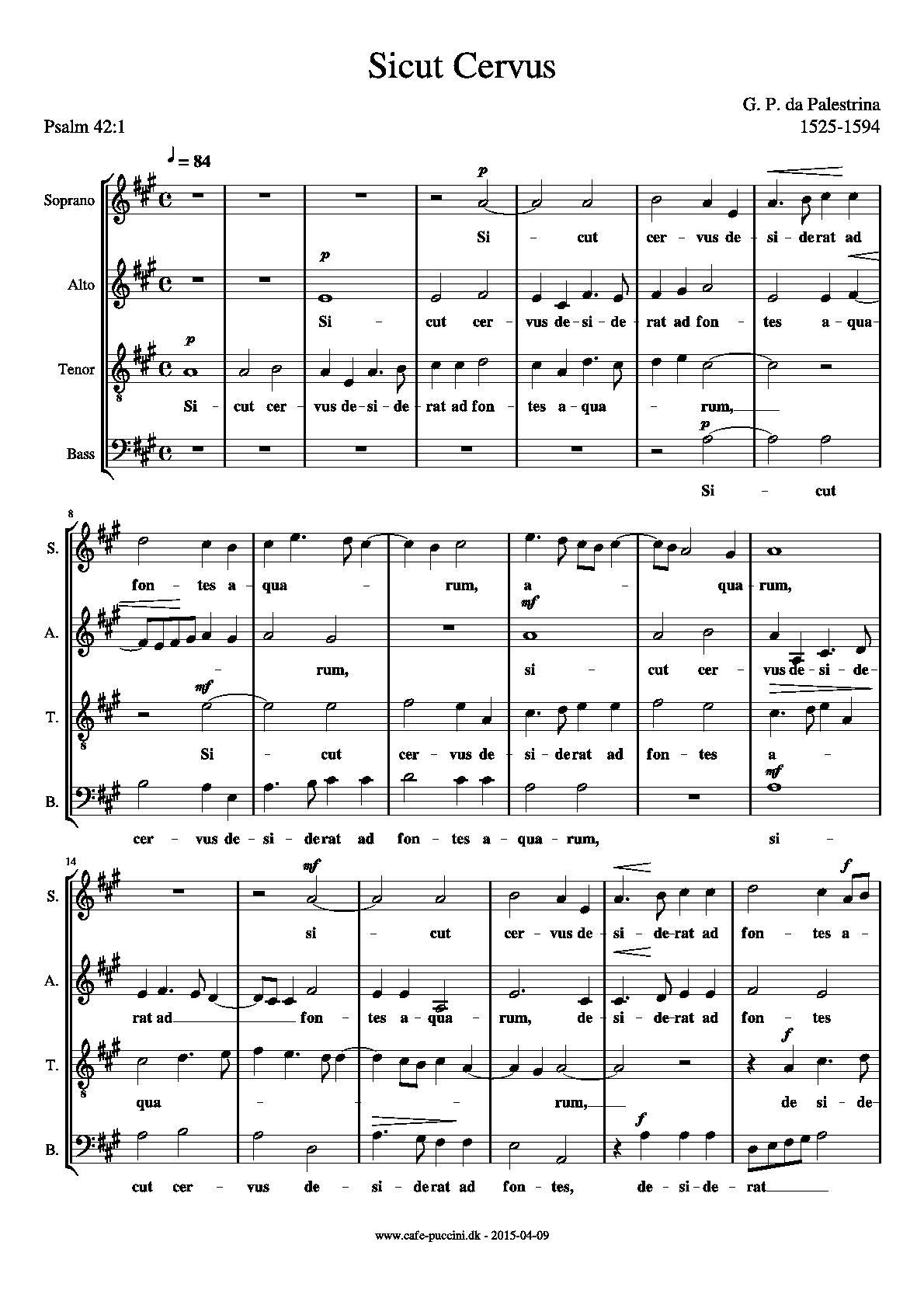 sicut cervus Palestrina sicut cervus (motet) midi file for recorder quartet (midi) - 8notescom.