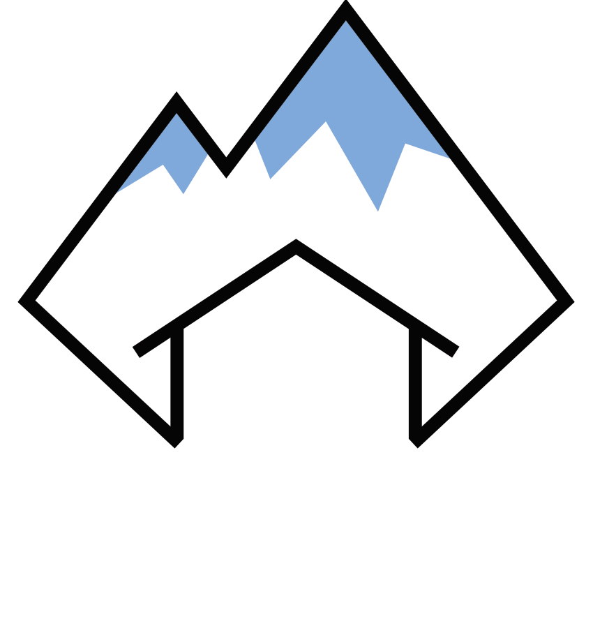 Logo blue white mountain