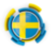 Sweden round flag with pattern 64